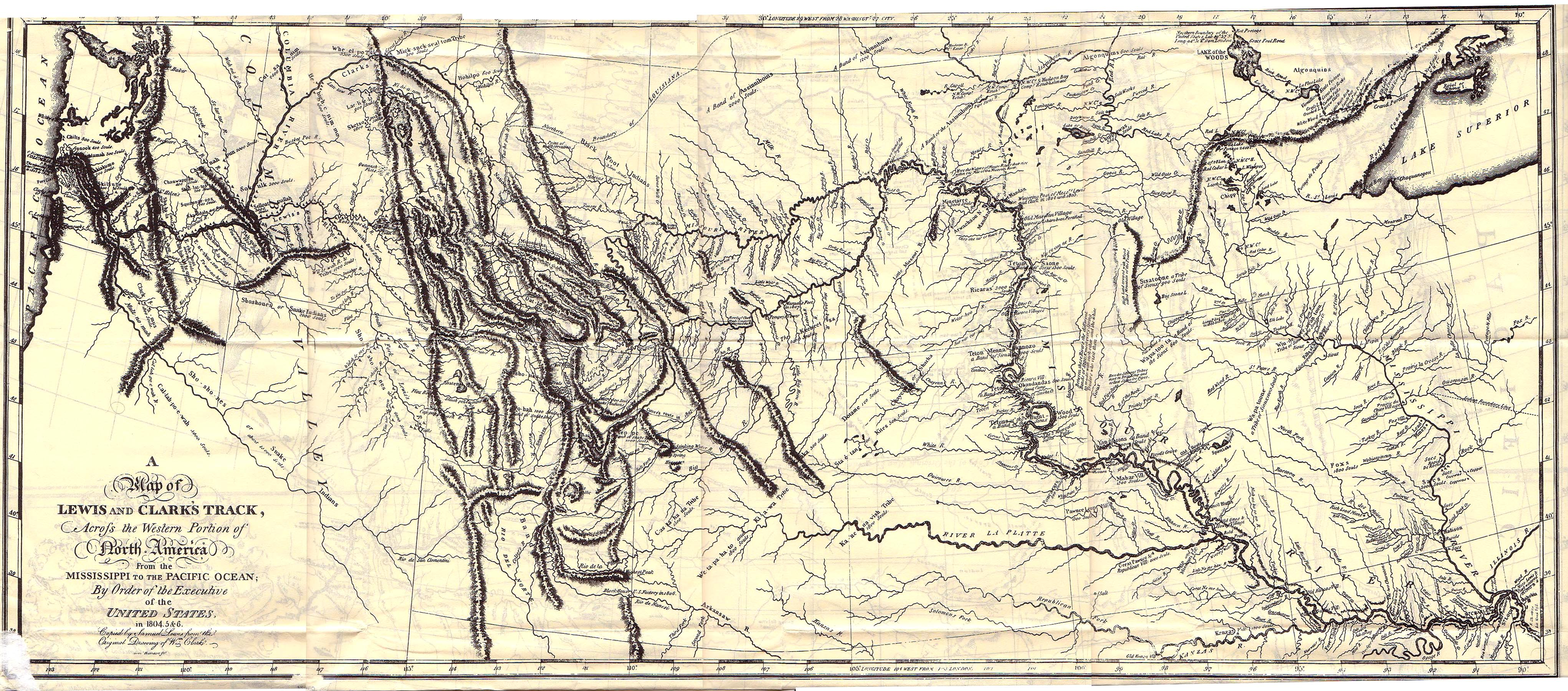 W Clark S Map As Published In Biddle S Edition Of The Lewis And Clark Journals 1814 About 2mb